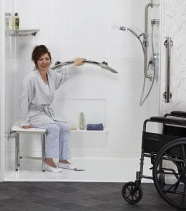 Walk-in; roll-in shower with handrails