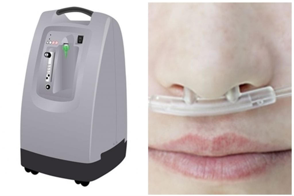 Oxygen concentrator and nasal cannula