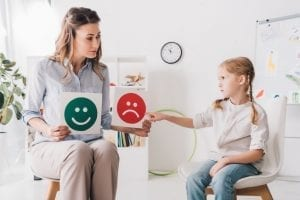 Child psychologist showing happy and sad emotion faces cards to child with autism spectrum disorder. Caregivers spend a lot of time in appointments.