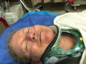 Lynn wearing neck stabilizer following fall.